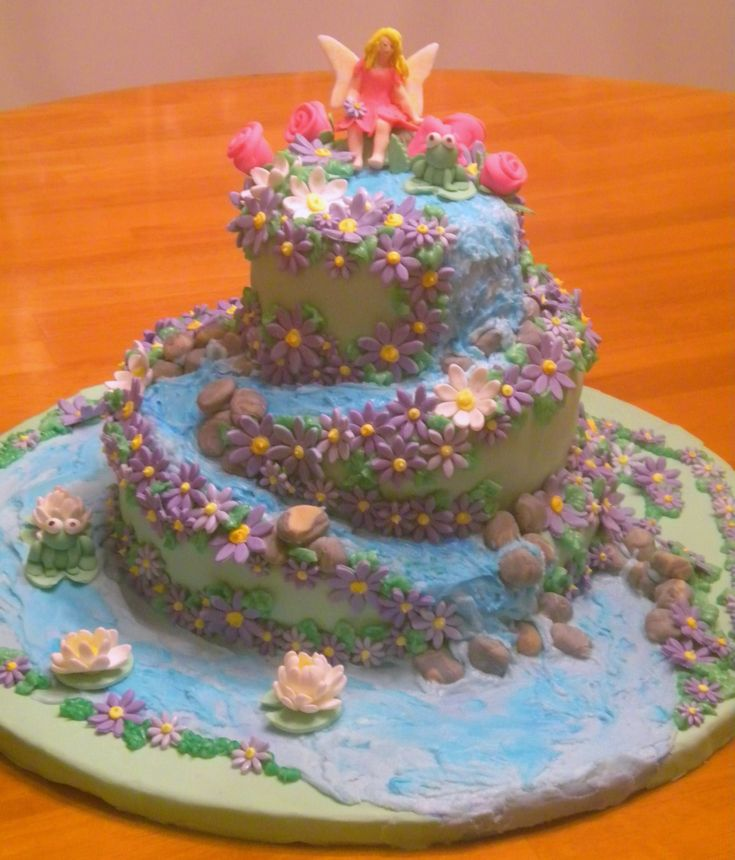 1843 best images about cakes party cakes birthday cakes for Fairy garden birthday cake designs
