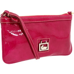 Hot pink patent leather wristlet.