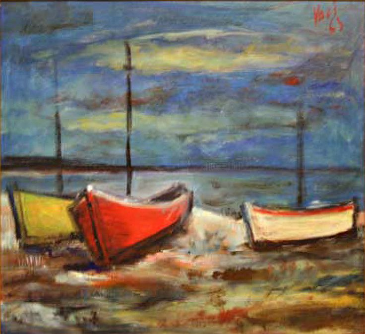 "#DiegoVoci™ ""Seaside"" painted in 1963, this oil on Wood is another example of Diego painting his memories of the seaside, harbors, Note the signature. and the Mediterranean he loved so much to enjoy with his family and friends. (80 cm x70 cm) Priced at 800 Euro. Diego with Joy Gibson-Naffouj and the kids: http://www.artifactcollectors.com/diego-history-4330818/Page5.html#142"