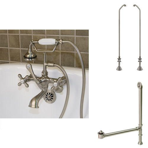 Tub Wall Faucet, Supply and Drain - Cross Handle - Threaded Pipe - Brushed Nickel