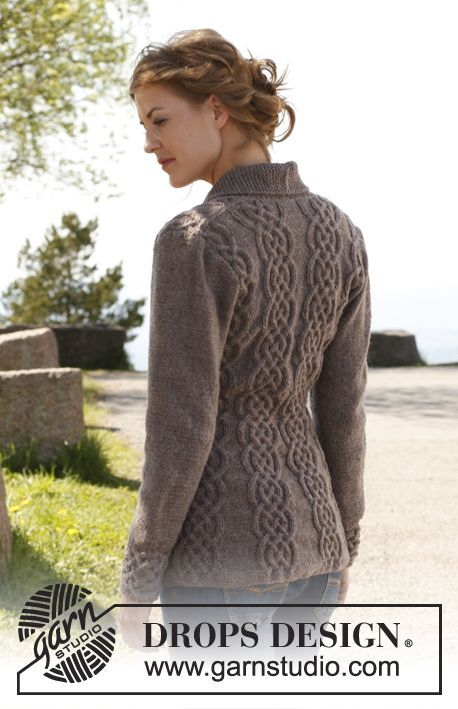 Knitted DROPS fitted jacket with cables and shawl collar - Free Pattern