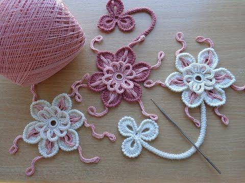 Уроки вязания - Цветок крючком - Ирландское кружево - Flower for Irish lace…
