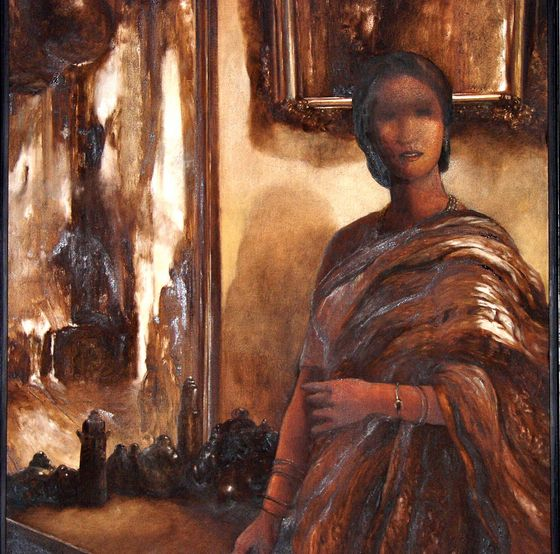 "Visit our Everyday Masterpiece on #indianartcollectors #artfromindia #buypaintingsonline #Contemporaryartpainting Bikash Bhattacharjee's ""Woman"" Oil On Canvas Size: 45"" X 48"" Price: INR 55,00,000 / $100,833 http://www.indianartcollectors.com/view-details.php?arid=36202&pop=true"