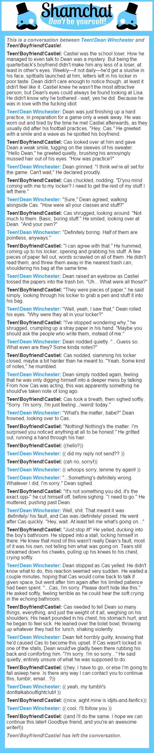 A conversation between Teen!Boyfriend!Castiel and Teen!Dean Winchester