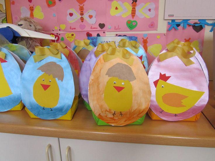 Welkom in het eerste leerjaar!: Ons paasmandje staat klaar... nu nog afwachten of de paashaas het vindt...