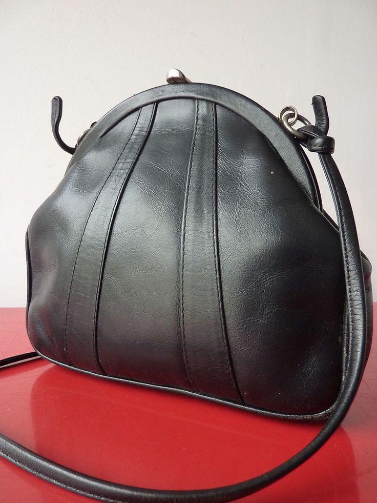 SAC BAG PUrse CLIC CLAC bandouliere Cuir Leather POchette vintage 80 VTG chic