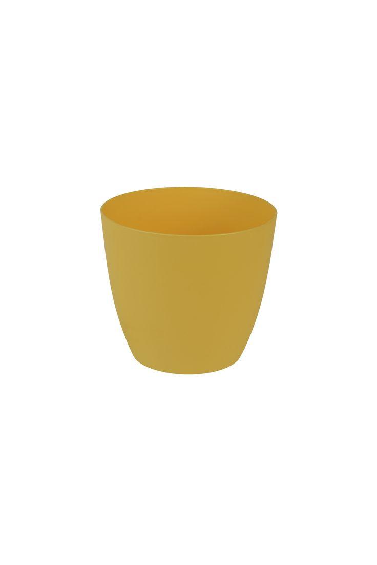 Decorative flower pot Ella 11 cm yellow | PLASTKON