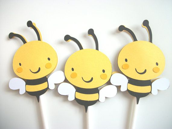 14 Bee Cupcake Toppers, Cupcake Toppers, Bee Cupcake Toppers, Bumble Bee Cupcake Toppers, Yellow Cupcake Toppers