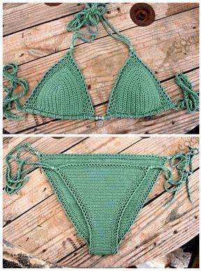 Este listado está reservado para Ana!    Ganchillo Bikini superior e inferior, de 100% cottonyarn, el color es verde azulado/turquesa.  Queda