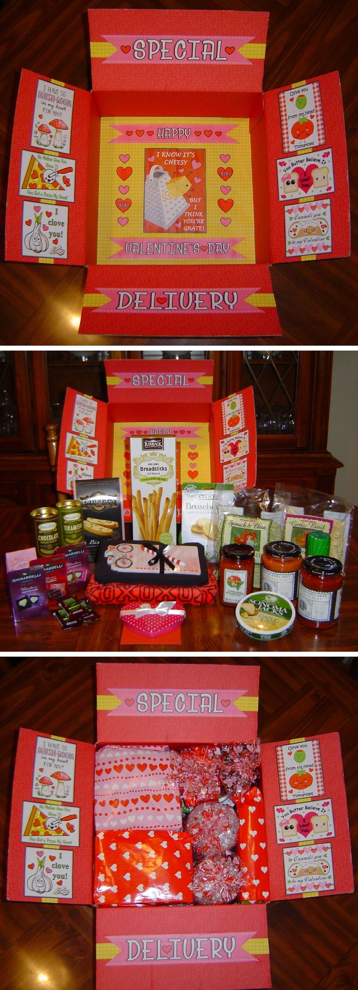 Special Delivery / Happy Valentine's Day care package. Sent to my daughter in college with an Italian theme. Included items to make an Italian dinner along with some snacks, sweets, pajamas and gift card. http://www.giftideascorner.com/valentines-gifts-special-man/