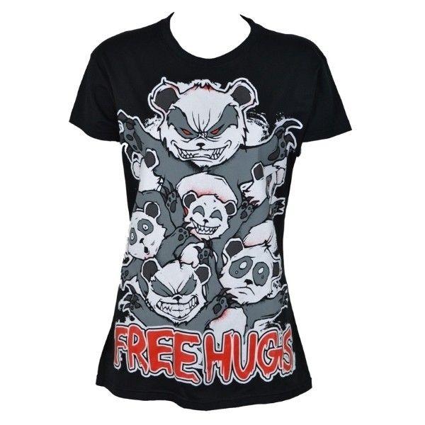 Killer Panda T-Shirt FREE HUGS ❤ liked on Polyvore featuring tops, t-shirts, shirts, 10. tops., blusas, panda tee, shirts & tops, panda shirt, panda bear t shirt and panda bear shirt