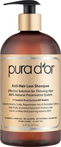 PURA D'OR Anti-Hair Loss Premium Organic Argan Oil Shampoo (Gold Label) Effective Solution for Hair Thinning & Breakage 16 Fluid Ounce (Packaging May Vary)