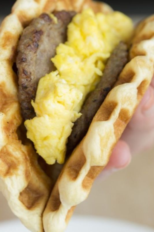 Pillsbury Grands! biscuits = perfect base for a sausage and egg waffle taco!