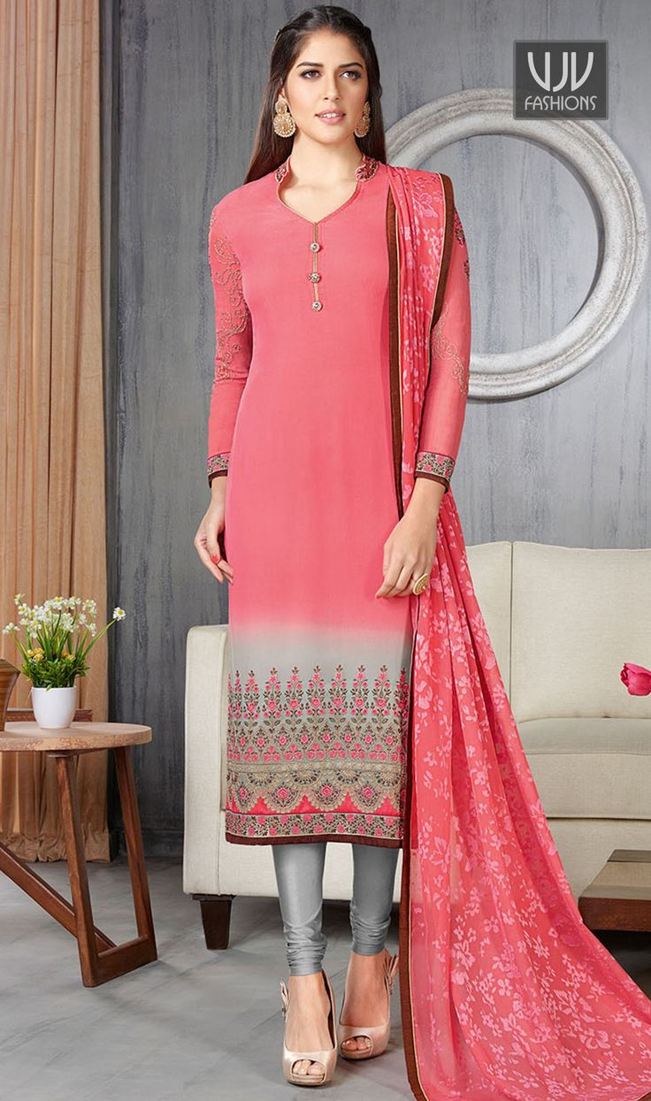 Glowing Georgette Pink And Grey Churidar Designer Suit  Vogue and trend would be on the peak of your splendor when you dresses this pink faux georgette churidar designer suit. The gorgeous embroidered work a intensive attribute of this attire.