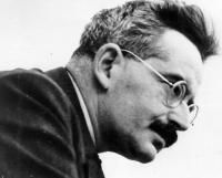 "Walter Benjamin (1892–1940) German social & literary critic, philosopher, translator & essayist. Combining elements of German idealism, Historical Materialism & Jewish mysticism, made influential contributions to aesthetic theory & the Frankfurt School. Known for essays on the work of Goethe, Kafka, Proust & Baudelaire, The Task of the Translator & ""The Work of Art in the Age of Mechanical Reproduction"". Influenced by Brecht's epic theatre & its ""alienation"". Coined the term ""auratic…"