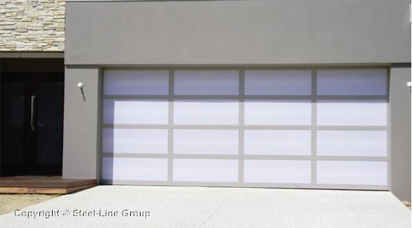Inspirations Garage Door - aluminium frame with Opal acrylic inserts   | Steel-Line