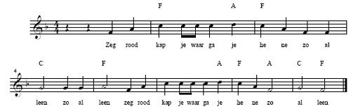Bladmuziek zeg roodkapje ...