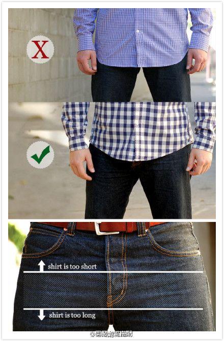 La longitud estándar del dobladillo de las camisas de los hombres