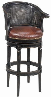 Luxury Furniture Swivel cane back bar or counter stool