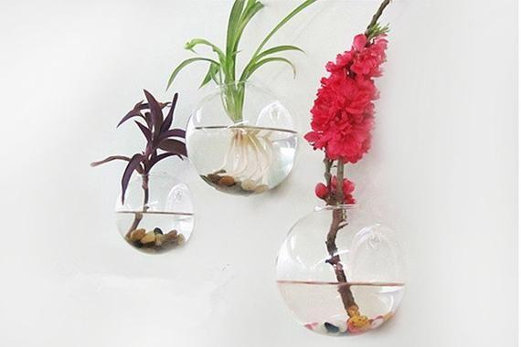 Sale Set Of 3 Wall Bubble Terrariums Glass Wall Vase For Etsy Hanging Glass Vase Glass Wall Vase Fish Tank Plants