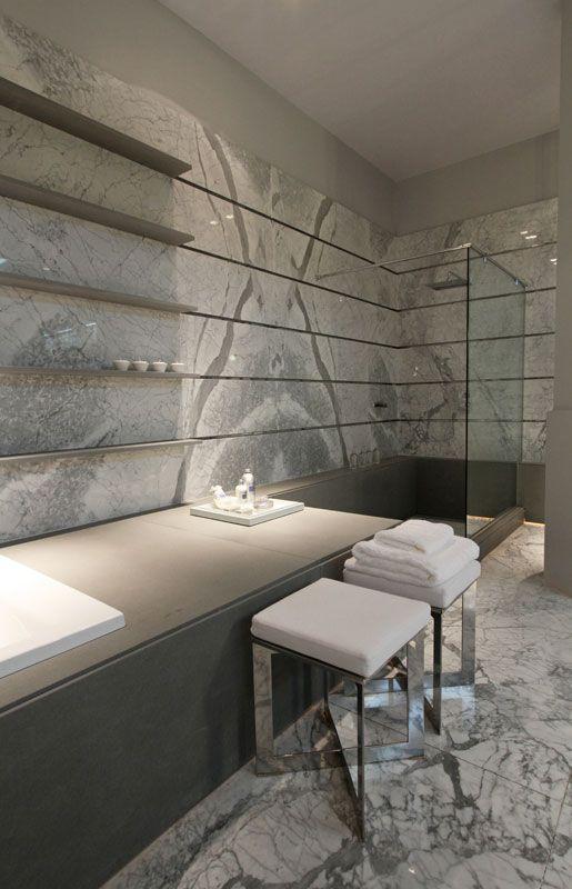 | P | Bathroom Shower | Beautiful Book Matched Marble Wall - Casa FOA