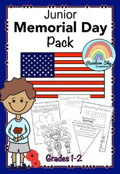 Literacy, Reflective and Creative thinking tasks to assist in developing an understanding of the meaning of Memorial Day. Over 15 activities for Grades 1 - 2 ~ Rainbow Sky Creations ~