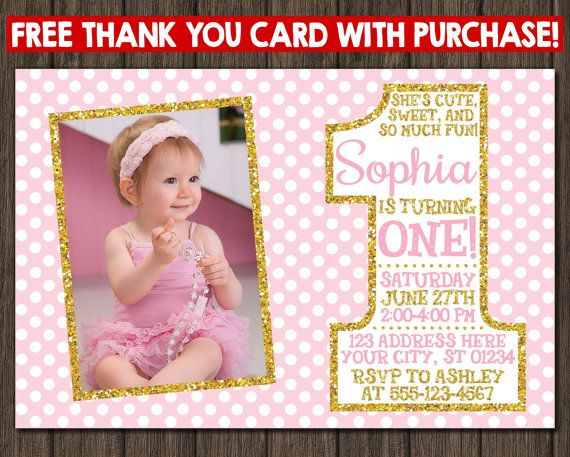 Best Pink And Gold Birthday Party Images On Pinterest St - First birthday invitations girl pink and gold