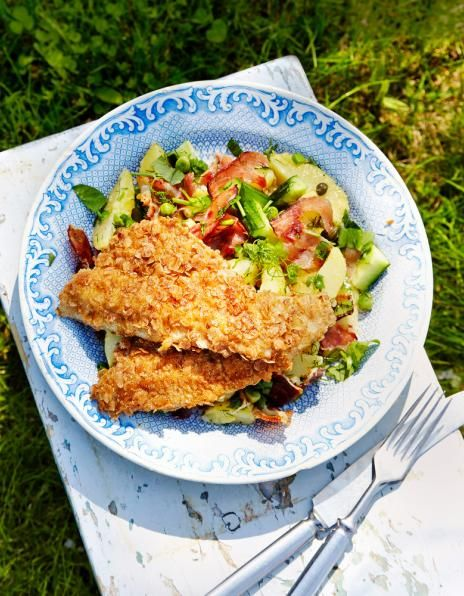 Kesäinen perunasalaatti ja paistetut ruisahvenet | K-Ruoka #kala