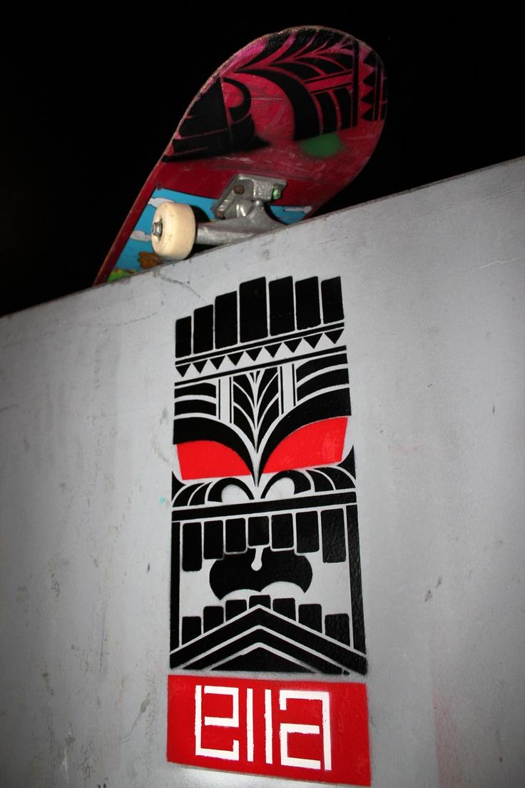 #ellastreetart Tiki's in #cinecittà #skatepark of #Rome.  #Stencil and #spray on Wall.
