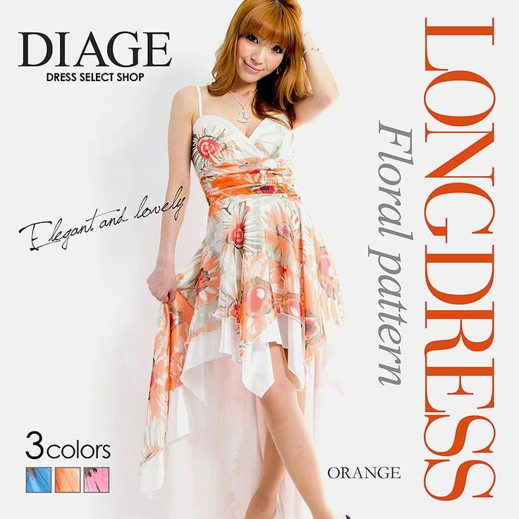 [全3色]優雅で可憐な華やかフラワー柄ロングドレス