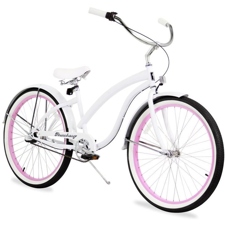 "26"" Firmstrong Bella Fashionista Three Speed Women's Beach Cruiser Bicycle, with Pink Rims"