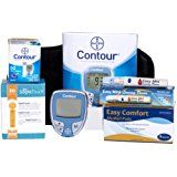 Bayer Contour Meter, 50 Contour Test Strips, 100 Slight Touch 30g Lancets, 1 Lancing Device, 100 Alcohol Prep Pads and Control Solution  by Slight Touch