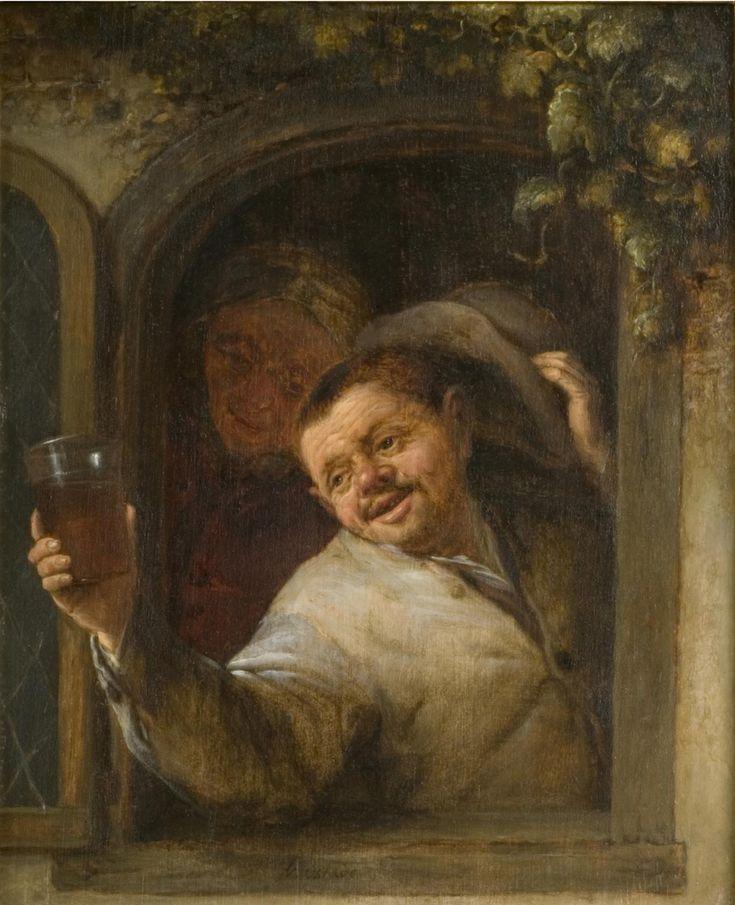 Adriaen van Ostade - Boeren drinken bij een venster