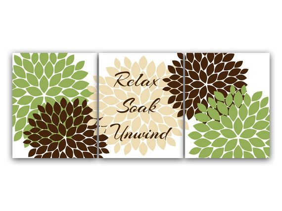 green and brown bathroom wall art relax soak unwind green bathroom decor modern bathroom art home decor wall art - Bathroom Decorating Ideas Brown Walls