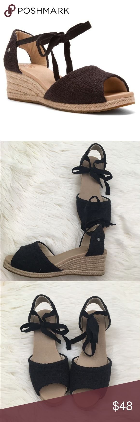 UGG Delmar Wedge Espadrilles Heels - Black Cotton UGH Australia wedge espadrilles Delmar summer sandal in black textured cotton, ankle ties peep toe, and partially open back. Great nearly new condition. UGG Shoes Espadrilles