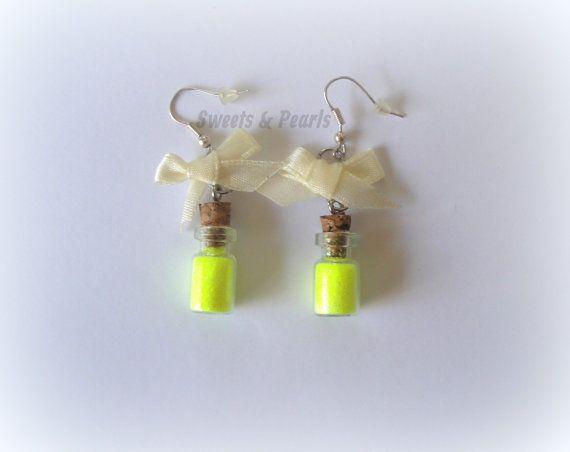 Handmade Sparkling Yellow Glitter Dust in mini miniature glass bottles Bow Cute Gift DecoDen Kawaii Earrings silver plated Hooks Girly girl