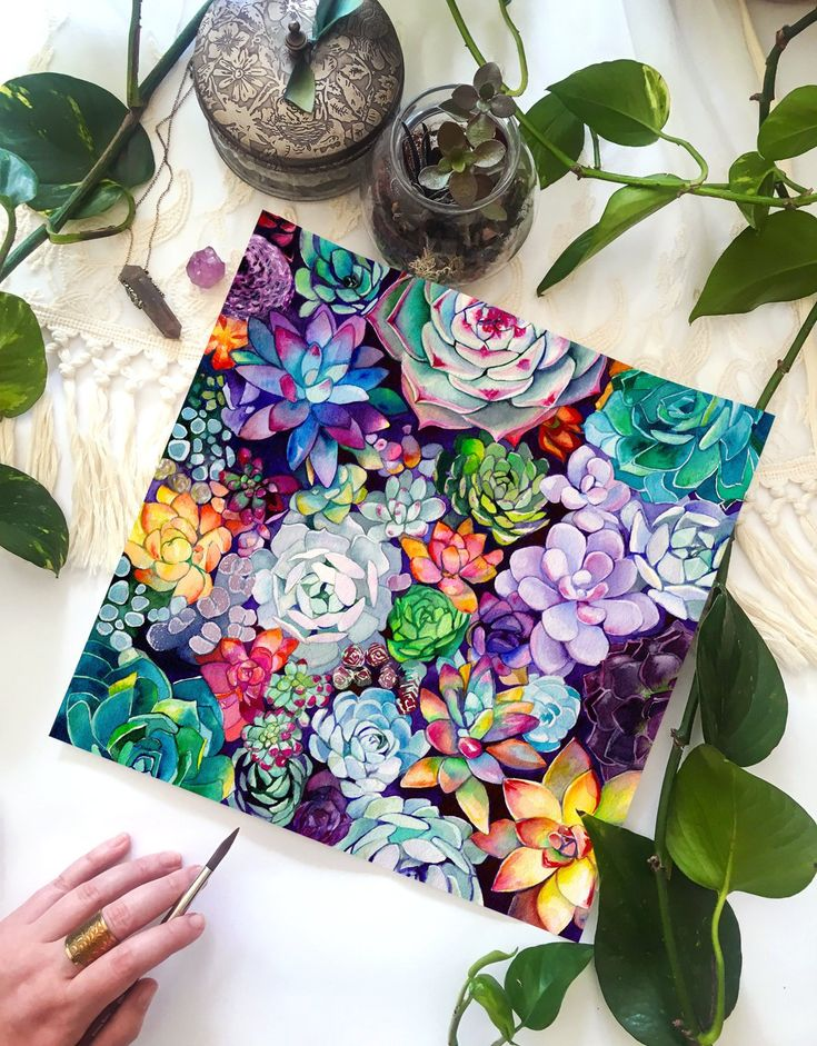 Succulent Garden –  Watercolor Painting – Floral – Bohemian Illustration – 11×11 Giclee Print – Home