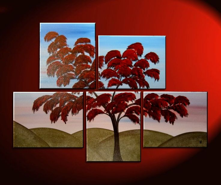 Large Tree Painting Wall Art Red Green Hills Blue Sky Modern Abstact Art Multiple  Canvases Ready