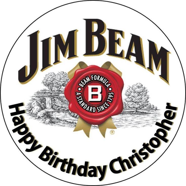 Edible jim beam wafer cake topper round 18cm birthday