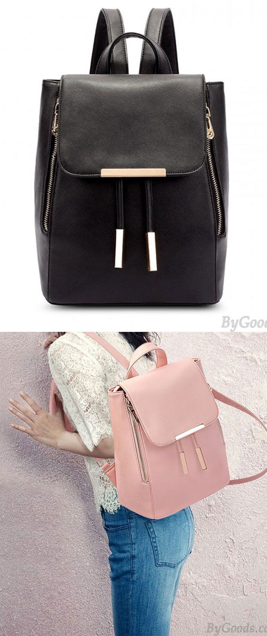 Elegant Pink Funky Lady Solid Simple Square PU Drawstring Hasp Satchel Backpack for big sale !#backpack #school #college #rucksack #student #fashion #girl #travel #black #pink