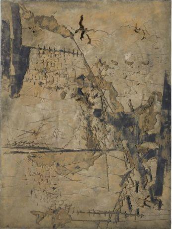 Tàpies, 'Gran Ocra amb Incisions', 1961. Mixed media on canvas, 260 x 195cm