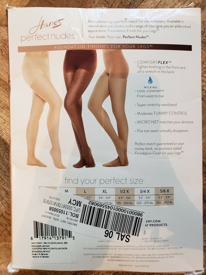 ea2cbb256eea2 Hanes Perfect Nudes Sheer Micro Net Girl Short Tummy Control Hosiery Nude 5  L LG#Sheer#Micro#Net
