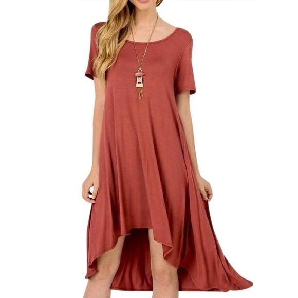 SOUTHERN GIRL FASHION High Low Swing Dress Stretchy Marsala Red Midi Tunic S M L #Boutique #BeachDress