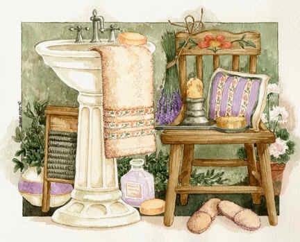Bathroom image painted by Diane Knott for Bon Art