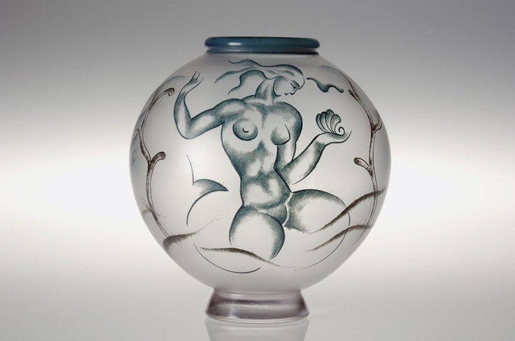Vicke Lindstrand (Swedish, 1904-1983), Orrefors, Enameled Glass Vase.