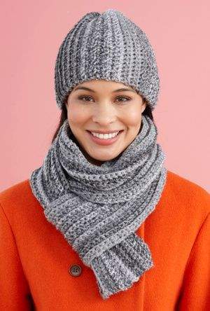 Free pattern from Lion Brand-Easy Peasy Hat And Scarf Set