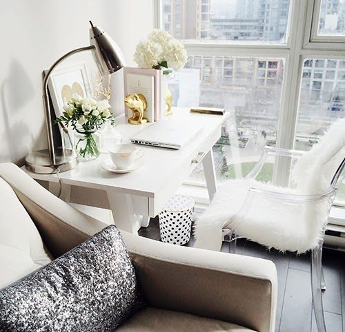 Closet Full of Nothing - living rooms - Threshold Basic Desk, Gold Pig Bookends, living room office, living room desk, white desk, target de...
