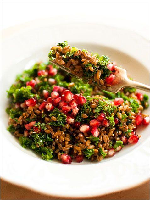 Rye, Kale and Pomegranate Salad