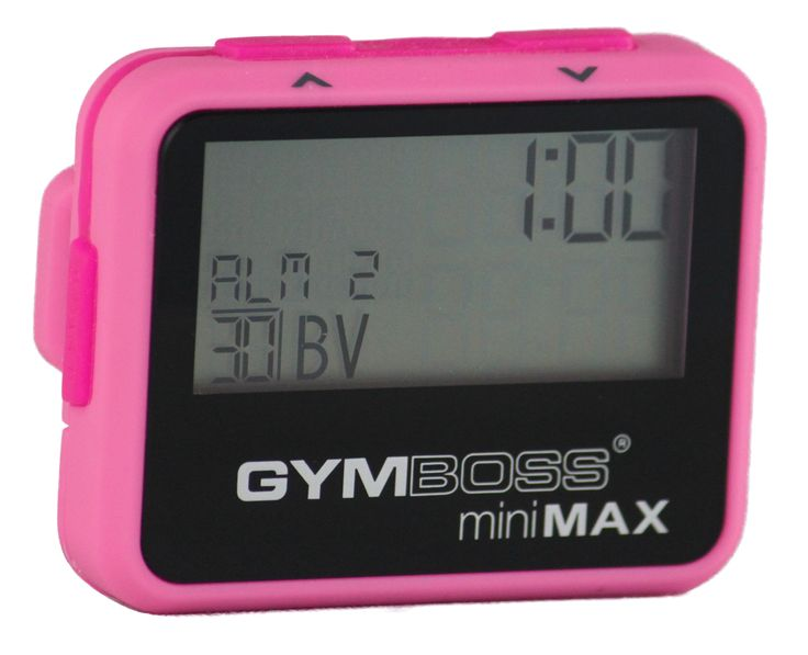 Pink miniMAX gymboss interval timer, to help with improving my HIITS