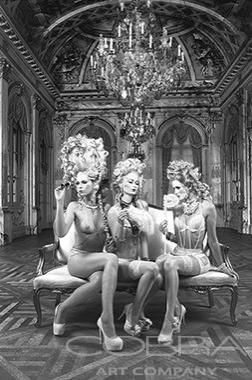 MARIE ANTOINETTE'S BALLROOM GAME DARK Black and White Photography Fashion & Faces Photography Artistic nude Photographic art on plexiglass Cobra Art Company